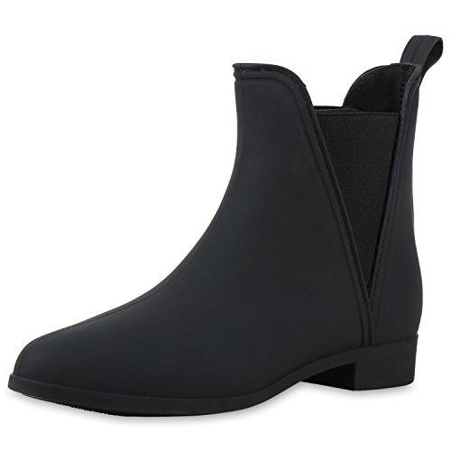 SCARPE VITA Gummistiefel Damen Stiefeletten Chelsea Boots Regen Schuhe 165563 Schwarz Black 38