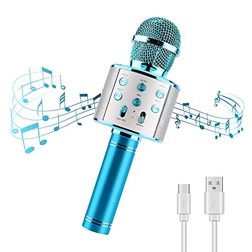Micrófono Karaoke Bluetooth 4 en1 Microfono Inalámbrico Karaoke Portátil Microfono Inalámbrico Karaoke Niños Altavoces Fiesta Microfono Karaoke para PC/Teléfono Inteligente Regalo Niños (Azul)