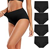 Molasus Women's Soft Cotton Underwear Briefs High Waisted Postpartum Panties Ladies Full Coverage Plus Size Underpants Black,Size 6