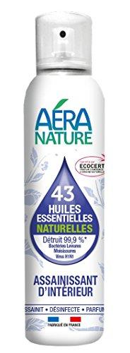AERA NATURE: Spray purificante de interiores con 43 aceites esenciales naturales, bactericidas, fungicidas, virucidas. Elimina el 99.9% de microbios, bacterias, levaduras, hongos, virus H1N1