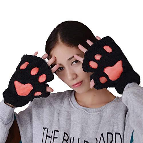 FIRSS Handschuhe Fingerlose Handschuhe Plüsch Katze Tatze Wollhandschuhe Soft Winter Fingerless Cosplay Kostüm Kunstpelz Winterhandschuhe Fingerhandschue Schwarz