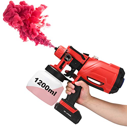 Battery Paint Sprayer Cordless Handheld Electric Power Spray Stain Gun Painter for House Car Fence Wall Cabinet Body Repair Painting Indoor Outdoor (3 Patterns, Output Adjustable, 1200ml Container)
