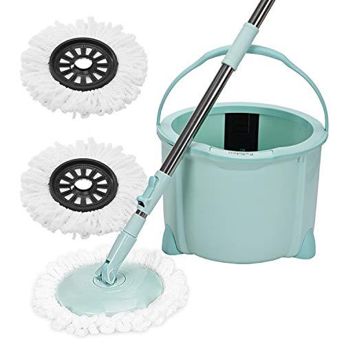 回転モップ Eyliden. フロアモップ フローリング ワイパー モップ回転 モップ絞り器 モップセット ミント クロス2枚 取替 バケツ付き 一層式 洗浄 脱水 乾拭き 水拭き 掃除 軽量 床に優しい 長さ調節 掃除モップ
