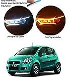 PRIKNIK Car Led Strip for Headlight White Daytime Running Light, Turn Signal Yellow/Amber Indicator...