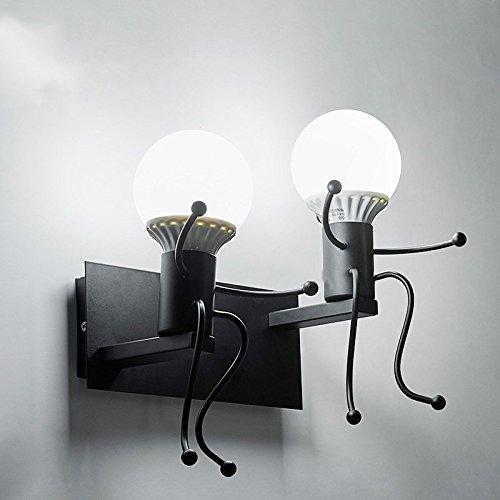Iro forgé moderne créative Peinture Salon Chambre à coucher mur de chevet Lampe lumière, Art Villain Couloirs Chambre Enfants Wall Lamp,Black,lampe de 5 Watts lumière blanche