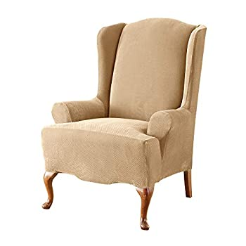 SureFit Home Décor Pique Knit T-Cushion Wingback Chair Slipcover Stretch Form Fit Polyester/Spandex Machine Washable Wing Cream Color