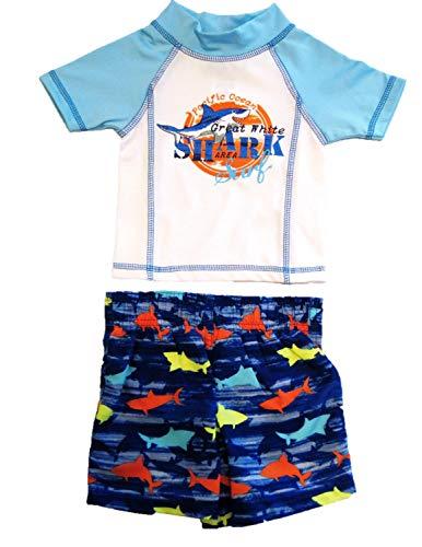 Mick Mack Toddler Boys' Two Piece Swim Trunks and Shirt Set, Great White Shark (12M)