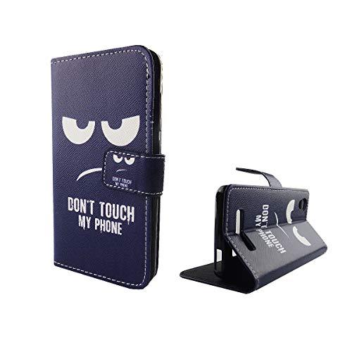 König Design Handyhülle Kompatibel mit ZTE Blade A452 Handytasche Schutzhülle Tasche Flip Hülle mit Kreditkartenfächern - Don't Touch My Phone Weiß Dunkelblau