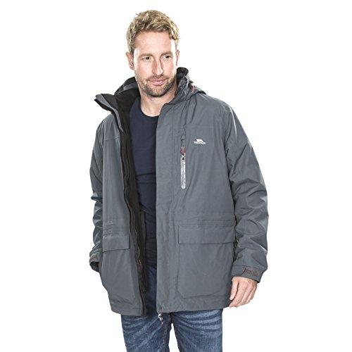Trespass Edgewater II, Carbon, L, Wasserdichte 3-in-1 Jacke mit Kapuze, herausnehmbare Innenjacke aus Fleece für Herren, Large, Grau