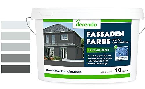 Derendo Silikonharz Fassadenfarbe grau mit ULTRA Wetterschutz, 2,5l, Abperleffekt wie beim Lotus Blatt, inkl. Filmschutz gegen Grünbelag, (Anthrazitgrau 15-60)