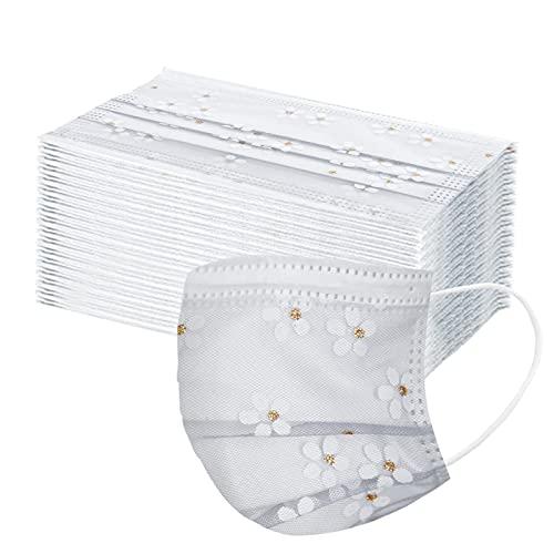 YpingLonk 50 Stück Elegante Mundschutz aus Spitze mit Perlen, modische Mundbedeckung, wiederverwendbar, atmungsaktiv, waschbar (1-Weiß, 50 Stück)