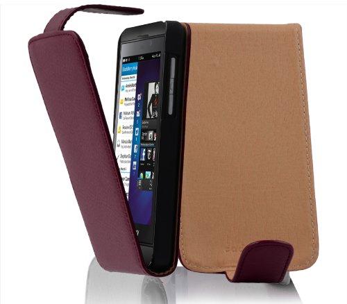 Cadorabo Hülle für BlackBerry Z10 - Hülle in Bordeaux LILA – Handyhülle aus Strukturiertem Kunstleder im Flip Design - Hülle Cover Schutzhülle Etui Tasche