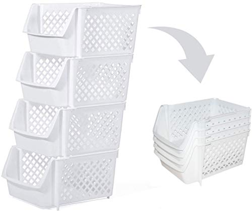 Skywin Plastic Stackable Storage Bins for Pantry - Stackable Bins For Organizing Food, Kitchen, and Bathroom Essentials (White)