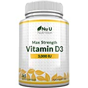 Vitamine D3 3,000 IU 365 Capsules Softgel (Approvisionnement pour Une Année Complète) Supplément de Vitamine D3 Triple Puissance, Haute Absorption du Cholécalciférol, Sans Gluten et Produits Laitiers