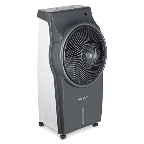 oneConcept Kingcool - 4-in-1: Luftkühler, Ventilator, Luftbefeuchter, Luftreiniger, Ionisator, Wassertank: 8 Liter, Luftdurchsatz: 2340 m³/h, 95 W, Oszillation, mobil, leise, Hellgrau