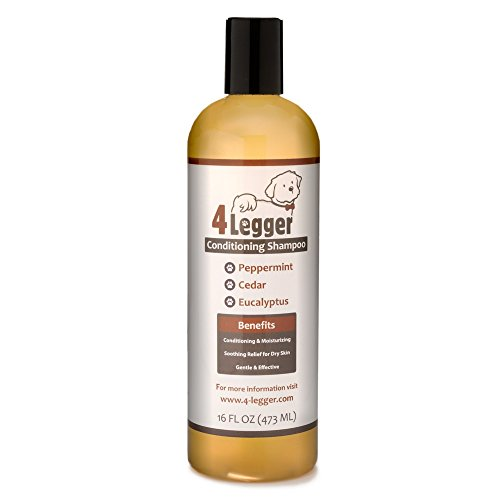 4Legger USDA Certified Organic Dog Shampoo with Conditioner - All Natural Cedar Dog Shampoo with Peppermint, Eucalyptus Essential Oil and Aloe for Normal, Dry Itchy Skin, Yeast and Fleas - USA - 16 oz