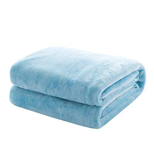 Mixibaby Kuscheldecke Flauschige extra weich & warm Wohndecke Flanell Fleecedecke, Falten beständig/Anti-verfärben als Sofadecke oder Bettüberwurf, Maße Decke Sarah:220 cm x 240 cm, Farbe:Hellblau