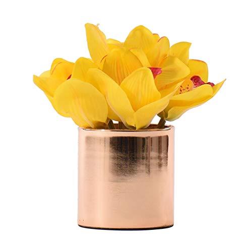 NYKK Getrocknete Blumen Postmodern Licht Esstisch Goldene Simulation Floral Sets, Chinesisch-Art-Haus Metall Vase Künstliche Blumen-Verzierung, Mini Künstliche Kleiner Topf künstliche Anlage künstlic