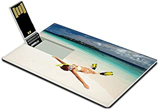 Luxlady 32GB USB Flash Drive 2.0 Memory Stick Credit Card Size Cute Woman with Snorkeling Equipment Relaxing on The Tropical Beach Image 24556160