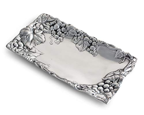 Arthur Court Metal Bread Serving Tray Grape Pattern Sand Casted in Aluminum with Artisan Quality Hand Polished Design Tarnish-Free 6 inch x 12 inch