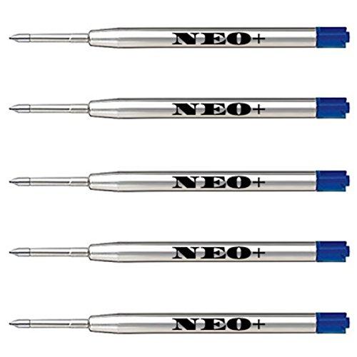 Recharges de stylo à bille de qualité, bon marché mais durables, pointe moyenne. Compatible avec le stylo à bille Parker aussi. Recharge de style G2 fabriquée en Allemagne (5 x ENCRE BLEUE)