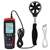 Termómetro Digital de Viento, GT8907 Medidor de Velocidad/Temperatura/Humedad del Viento del Anemómetro USB de Alta Precisión USB