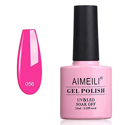 AIMEILI Smalti per Unghie Colori Smalto in Gel Fluo Semipermanente UV LED Soak Off - Neon Peachy Pink (056) 10ml