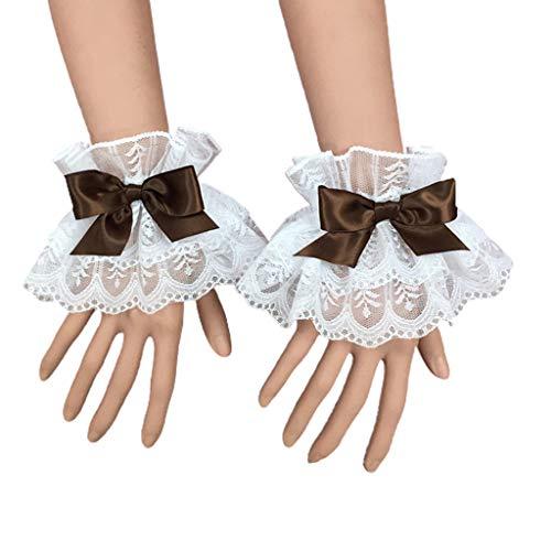 PHILSP Frauen Armband Frauen Lolita Handarm Handgelenksmanschetten Rüschen Spitze Bowknot Maid Cosplay Armband Kaffee