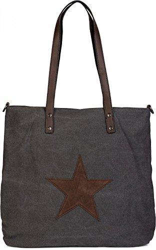 styleBREAKER Canvas Shopper Handtasche mit aufgenähtem Stern, Schultertasche, Umhängetasche, Damen 02012048, Farbe:Dunkelgrau-Dunkelbraun