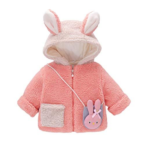 Livoral Kinder Winter Mantel Kleinkind Kind Baby Jungen Mädchen Winter Mäntel Jacke Dicker Schneeanzug Hoodie Fleece + Tasche(Rosa,11)