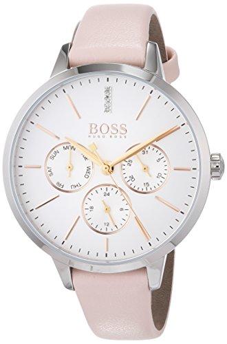 Hugo Boss Unisex Multi-wijzerplaat kwarts horloge met lederen armband 1502419