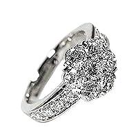 [リュイール] リング 指輪 レディース ダイヤモンド 豪華 2.00ct K18 ホワイトゴールド SI-クラス 大粒 フラワー 8.5号