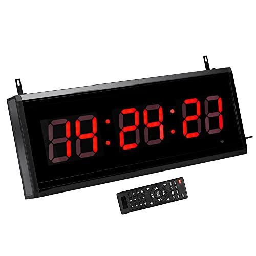 JEVX Reloj Digital de Pared Grande 7 en 1 con Mando a Distancia, Cronometro, Temporizador para Sesiones de Partido, Iluminacion en Color Rojo con 9 Niveles, Termometro, de Sobremesa y para Colgar