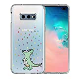 Galaxy S10e Case, Unov Clear with Design Soft TPU Shock Absorption Slim Embossed Pattern Protective Back Cover for Samsung Galaxy S10e 5.8in (Rainbow Dinosaur)
