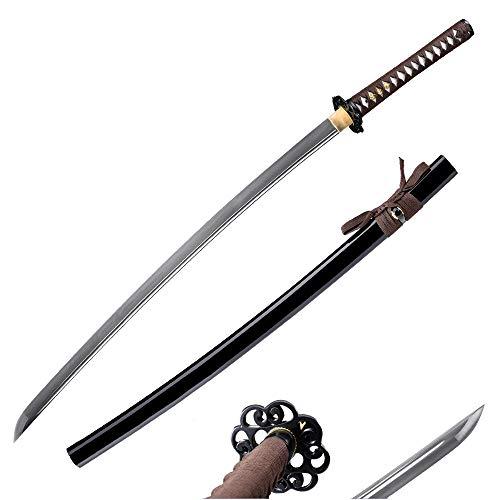 fengze Handmade Samurai Sword, 40 Inch Damascus Steel Ultra Sharp Fully Hand Forged Katana Sword for Real Battle, Full Tang, Clay Tempered…
