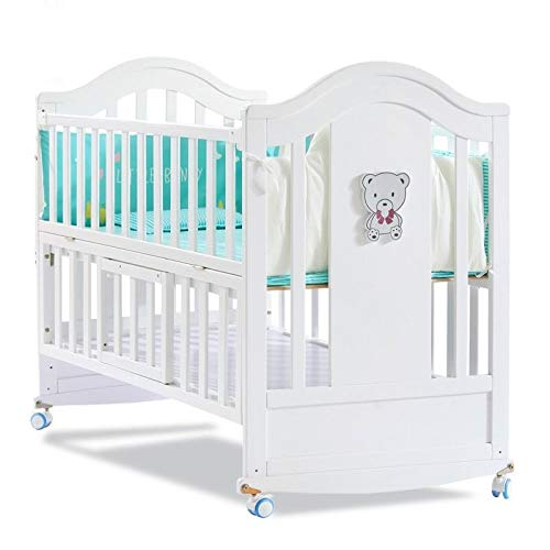 BabyTeddy® White Bed Large Premium Limited Edition European Design 10 in 1 Multifunctional Crib,Cot,Toddler Bed, Rocker,Convertible Desk and Kid's Sofa with 6 PC Forest Theme Sofa Cotton set, Crib Mattress and Mosquito Net