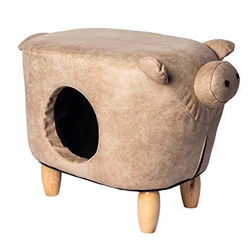 Funhobby Italia Srl Tiragraffi Pouf Struttura in Legno Imbottito poggiapiedi con cuccetta per Gatto Gatti Fantasia Animali (Pig)