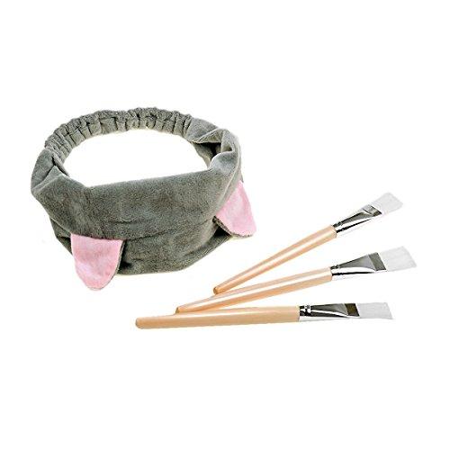Justime 3 Stück Gesichtsmaske Pinsel Kosmetik Beauty Mask Pinsel + 1 Stück Gray Haarband für Gesichtsmaske Werkzeug