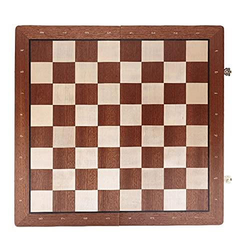 Conjunto de ajedrez de madera plegable con piezas de ajedrez de madera, conjunto de tableros de juego de ajedrez con ranuras de almacenamiento, conjunto de ajedrez juego de mesa de madera 2 de tamaño