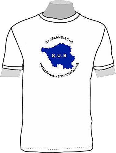 S.U.B. SAARLÄNDISCHE UNABHÄNGIGKEITSBEWEGUNG - ohne Rahmen; T-Shirt; weiß; Damen; 42/44; Gr. L