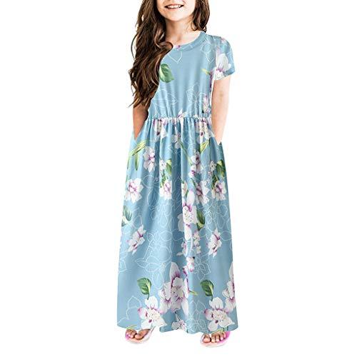 Baby Dress,Meet&sunshine Children Kids Girls Short Sleeve Floral Print Dress Flower Dresses Clothes (Blue, 140)