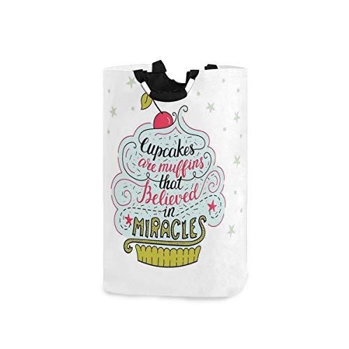 Hdadwy Cestas de lavandería, motivo artístico de cupcakes con cereza en la parte superior, tema de panadería con frase de Believe In Miracles, cesta de lavandería plegable con asas, adecuada para dorm