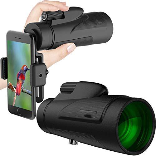LFDHSF Monoculares Telescopio 12x50 Óptica Adaptador de teléfono Inteligente Teléfono Celular Fotografiar Telescopio portátil con Adaptador de trípode móvil