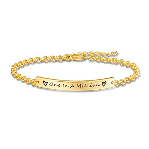 FANCIME Yellow Gold Plated 925 Sterling Silver One In A Million Tag Bar Cuff Bangle Bracelet For Women Girls