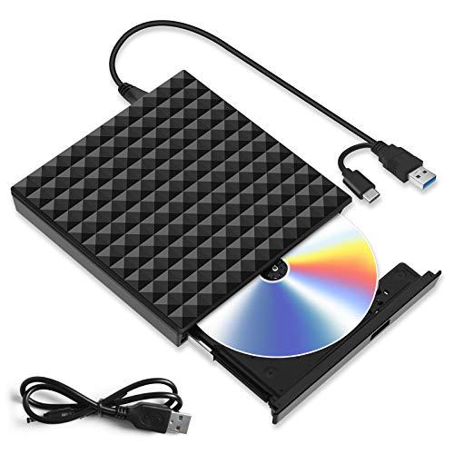 Externes CD DVD Laufwerk, mit USB 3.0 & Type-C Tragbare Externer DVD Brenner, DVD/CD Lesegerät PC Player Niedriger Lärm/Slim Superdrive für Laptop, Desktop, Mac, MacBook, Windows 10/8/7, Linux, MacOS