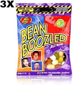 3 pack x Jelly Belly Beans Bean Boozled (54 gramos) Risas con los amigos Divertido juego de 8 sabores mezclando caramelo masticable gominolas chuches