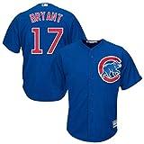 ZHONZZ Camiseta de Jersey de béisbol Profesional para Hombre, Cubs-9# Baez, Azul, Blanco, Gris,17#Blue,S