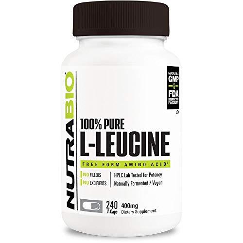 NutraBio 100% Pure L-Leucine (400mg, 240 Capsules)