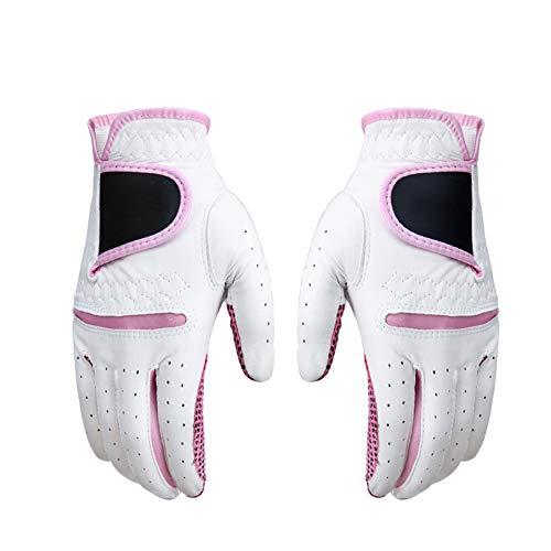 ZYQZYQ 1 Paar Golfhandschuhe Damen Schaffell Outdoor-Sporthandschuhe Linke Und Rechte Hand Leder rutschfeste Atmungsaktive Handschuhe,Pink-20