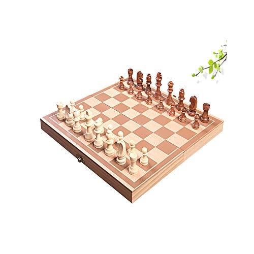 Qiaoxianpo01 Internationales Schach, dreidimensionales, klappbares Magnetschach aus Holz, hochwertiges, tragbares Schachspiel for Kinder aus massivem Holz (braun + beige, 20 * 15 * 5 cm) Leicht zu tra